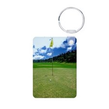 Flag on putting green Keychains