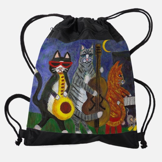 Jazz Cats at Night Drawstring Bag