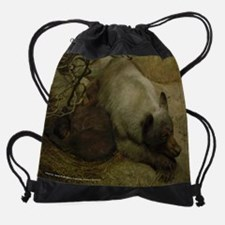 Momma Bear and Curled Cub Drawstring Bag