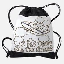 Fly Above Haters-BROWN WHITE.png Drawstring Bag