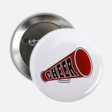 Red Cheer Megaphone Button
