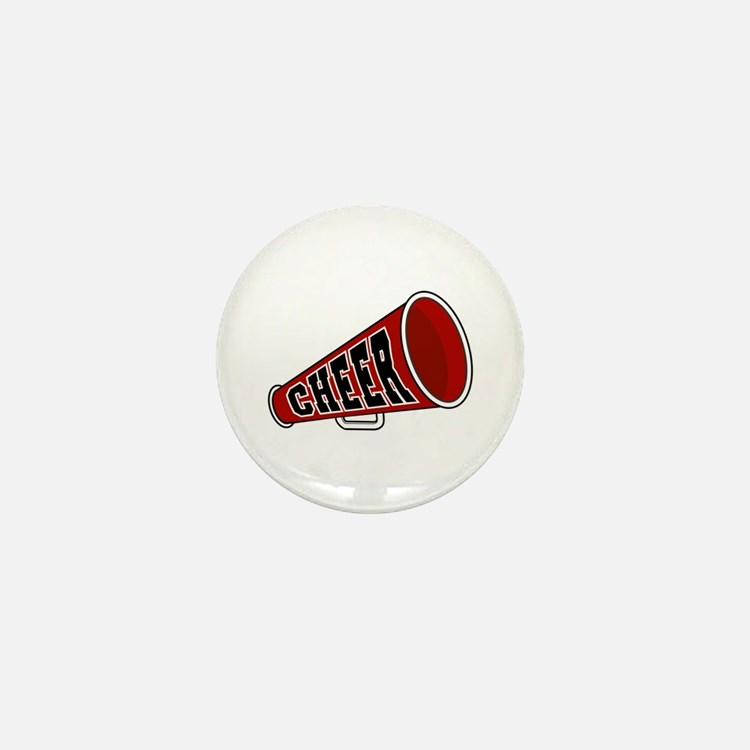 Red Cheer Megaphone Mini Button