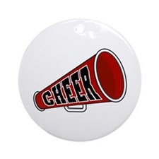 Red Cheer Megaphone Ornament (Round)