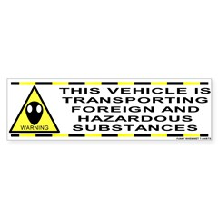 Alien Hazard Bumper Bumper Sticker