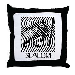 Slalom Skiing Throw Pillow