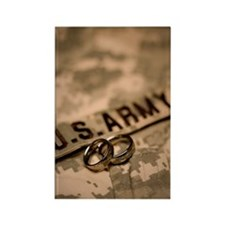 Wedding rings on US Army ACU unif Rectangle Magnet