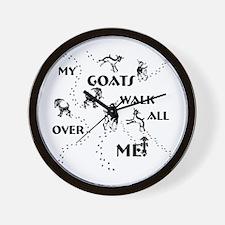 Goats Walk All Over Me Wall Clock