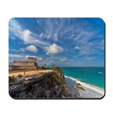 View of Tulum mayan ruins beach Mousepad