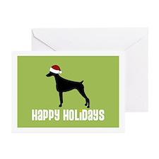"""Doberman """"Santa Hat"""" Greeting Cards (Pk of 10)"""