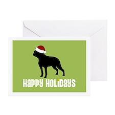 """Boston Terrier """"Santa Hat"""" Greeting Cards (Package"""