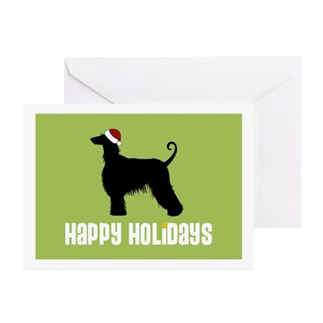 "Afghan Hound ""Santa Hat"" Greeting Cards (Package o"