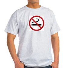No Smoking Sign Ash Grey T-Shirt