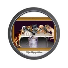 Cute Dogs playing poker Wall Clock