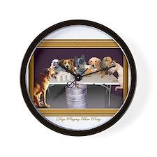 Cool Dogs playing poker Wall Clock