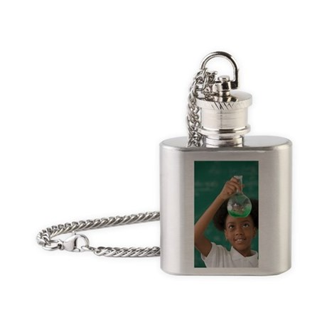 African American girl in science cl Flask Necklace