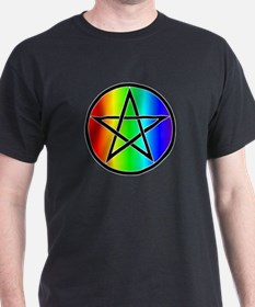 T-Shirt - Rainbow Pentacle Black