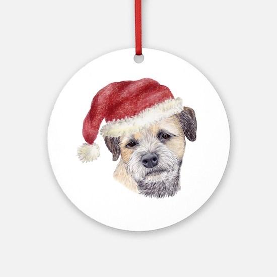 Christmas Border Terrier Ornament (Round)
