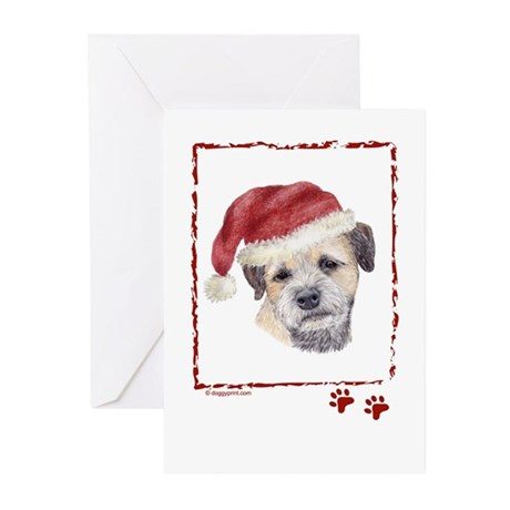 Merry Christmas Border Terrier Greeting Cards