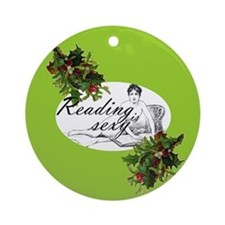 Reading is Sexy...Christmas flat Ornament (Round)