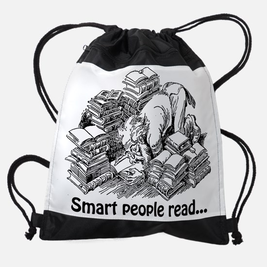 Knowledge 3 smart people read.png Drawstring Bag