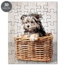 Puppy in basket. Puzzle
