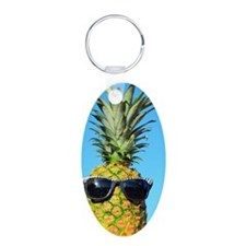Pineapple with sunglasses Aluminum Oval Keychain
