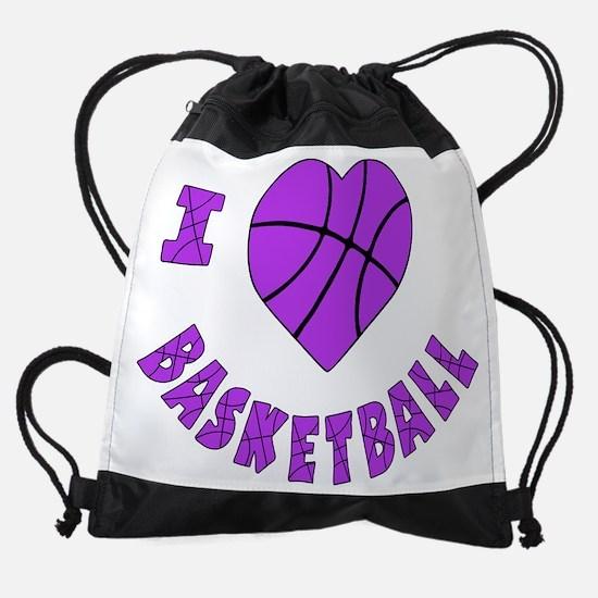 wh  lavendar, Love Basketball.png Drawstring Bag