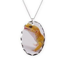 Leopard Gecko against white ba Necklace