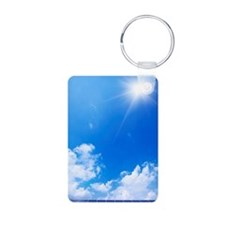 Blue Sky and Sun Over Sola Keychains