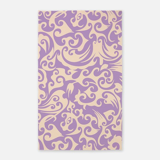 African Violet & Linen Swirls 3'x5' Area Rug