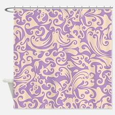 African Violet & Linen Swirls Shower Curtain