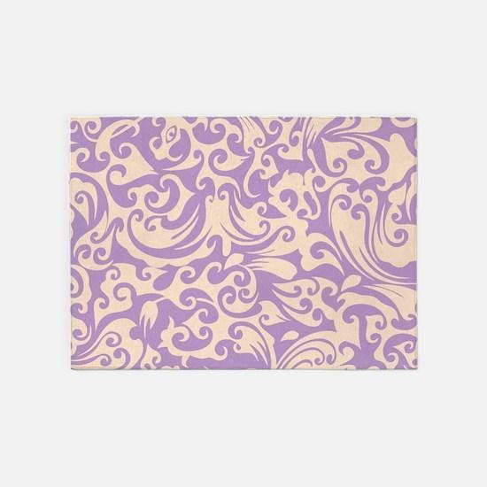 African Violet & Linen Swirls 5'x7'Area Rug