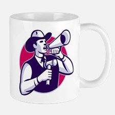 Auctioneer Cowboy With Gavel And Bullhorn Small Mu