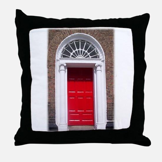 Red Dublin Door Throw Pillow