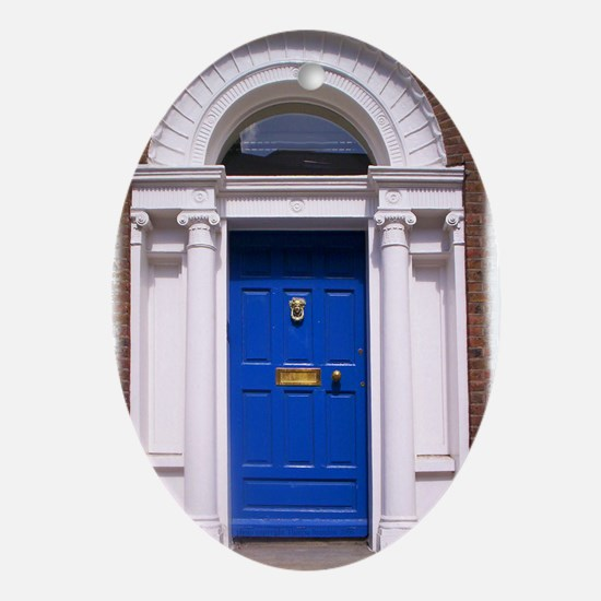 Blue Dublin Door Oval Ornament