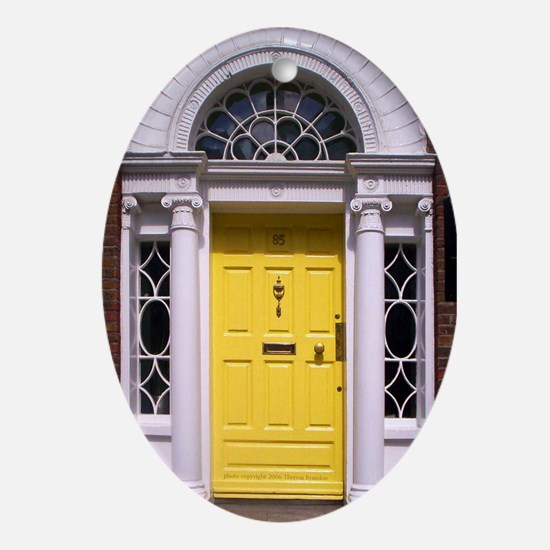 Yellow Dublin Door Oval Ornament