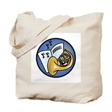 Tuba and Sheet Music Circle Design Tote Bag
