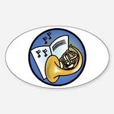 Tuba and Sheet Music Circle Design Oval Decal