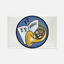Tuba and Sheet Music Circle Design Rectangle Magne