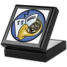 Tuba and Sheet Music Circle Design Keepsake Box