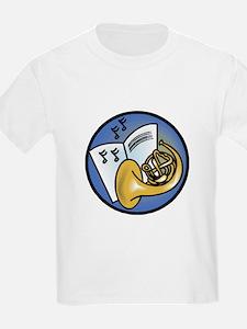 Tuba and Sheet Music Circle Design Kids T-Shirt