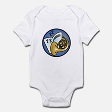 Tuba and Sheet Music Circle Design Infant Bodysuit