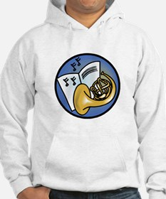 Tuba and Sheet Music Circle Design Hoodie