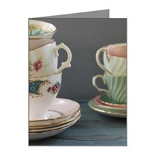 Two stacks of pastel teacups Note Cards (Pk of 10)