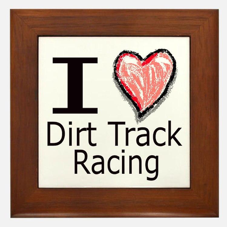 I Heart Dirt Track Racing Framed Tile