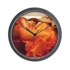 Flaming June orange woman classical art Wall Clock