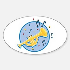 Trumpet and Music Notes Design Oval Decal