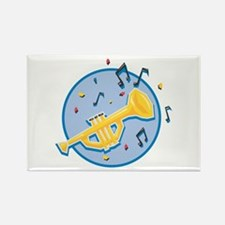 Trumpet and Music Notes Design Rectangle Magnet