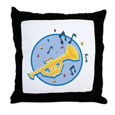 Trumpet and Music Notes Design Throw Pillow