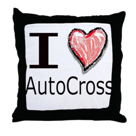 I Heart Auto Cross Throw Pillow